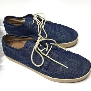 Tom's Paseo Chambray Denim Canvas Lace Sneaker